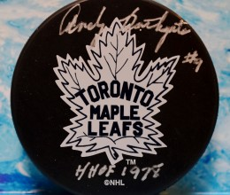 West_Coast_Authentic_NHL_Leafs_Andy_Bathgate_Autographed_Hockey_Puck