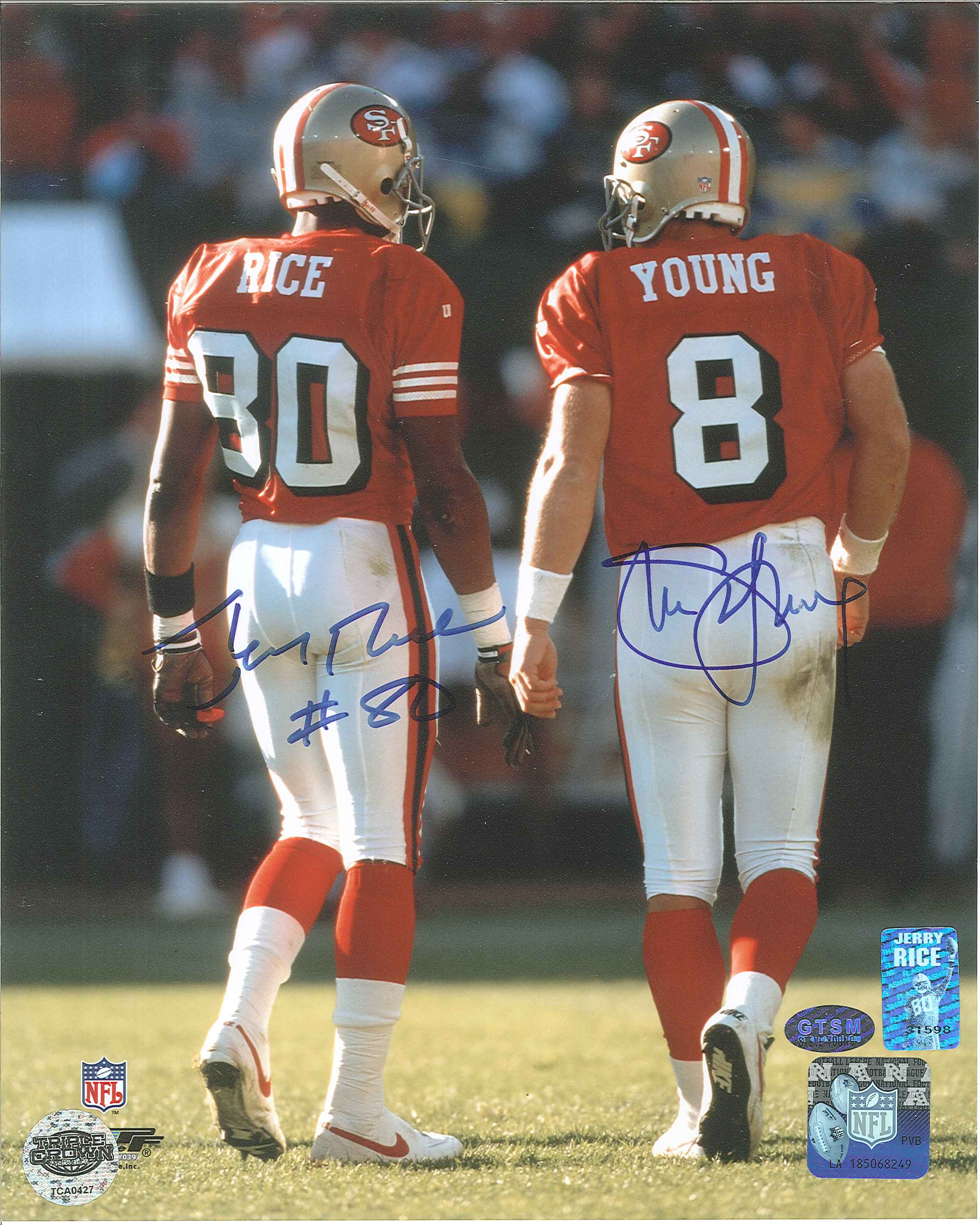 new styles eac0c e8944 Jerry Rice & Steve Young Autographed San Francisco 49ers 8 x 10 Photo