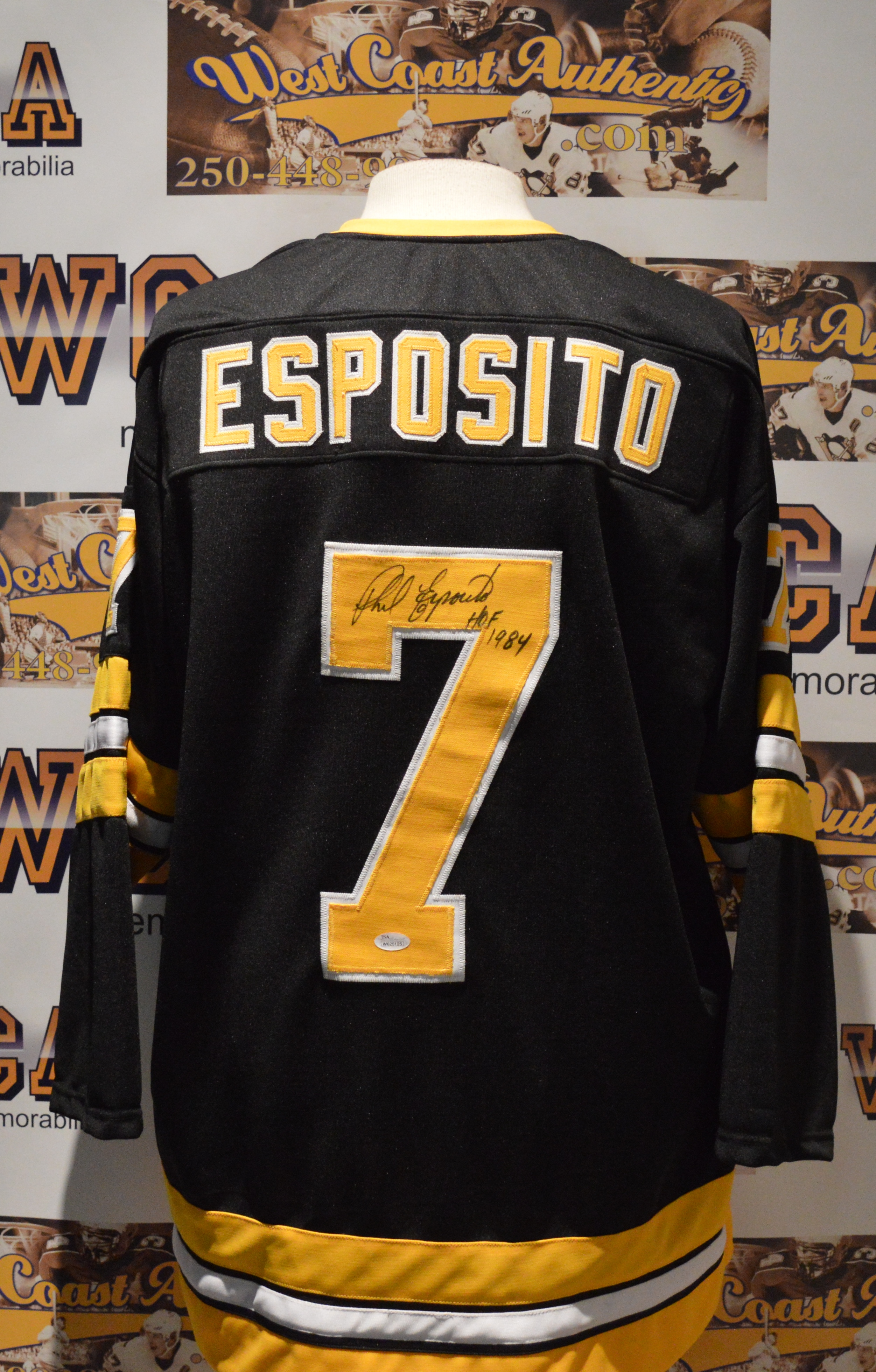 ... Phil Esposito Autographed Boston Bruins Jersey.  west coast authentic nhl bruins phil esposito autographed jersey2 00766245b32