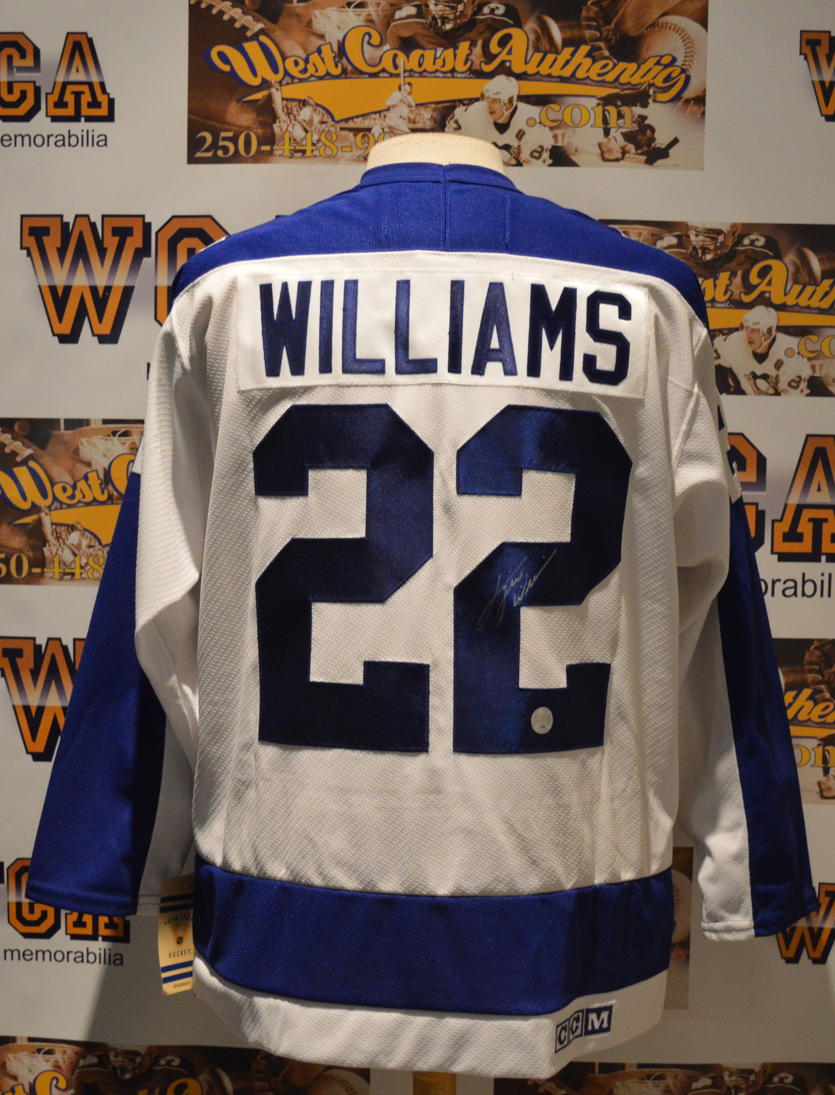 """size 40 0901c 25f7a Dave """"Tiger"""" Williams Autographed Toronto Maple Leafs Jersey"""