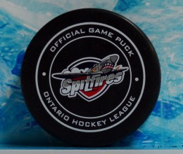 west_coast_authentic_ohl_spitfires_unsigned_pucks