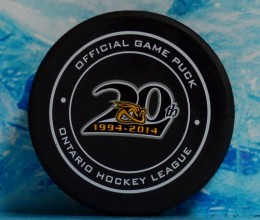 west_coast_authentic_ohl_sting_unsigned_pucks