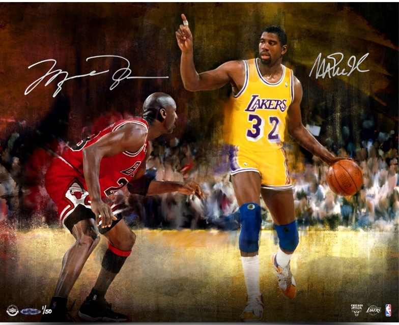 magasin en ligne 24356 6a398 Michael Jordan & Magic Johnson Autographed Match Up 16 X 20 Print