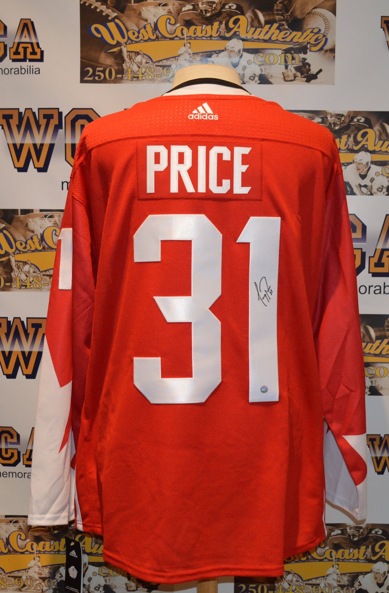 """77965d475 ... Carey Price Autographed Team Canada """"World Cup of Hockey"""" jersey.  rsz west coast authentic nhl canadiens carey price autographed jersey2"""