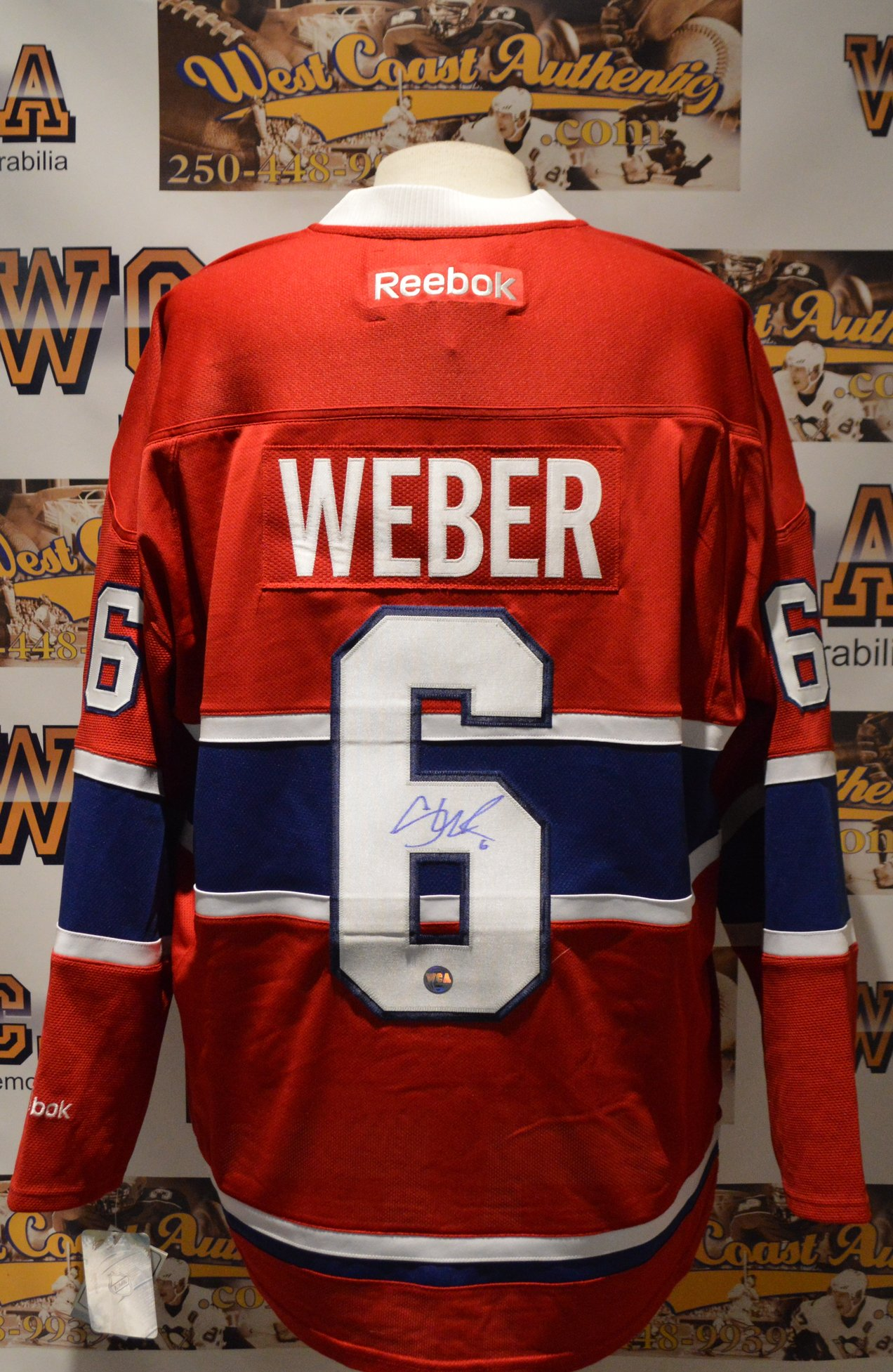 ... Shea Weber Autographed Montreal Canadiens Jersey.  West Coast Authentic NHL Canadiens Shea Weber Autographed Jersey(2) 5fe74457f02