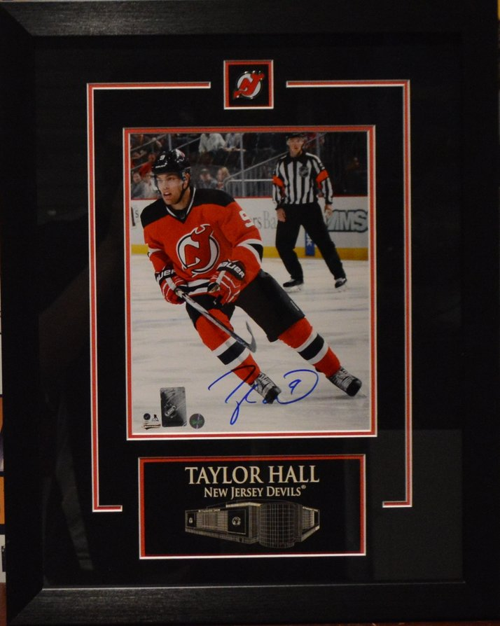 low priced c2a92 e9474 Taylor Hall Autographed New Jersey Devils Framed 8 x 10 Photo