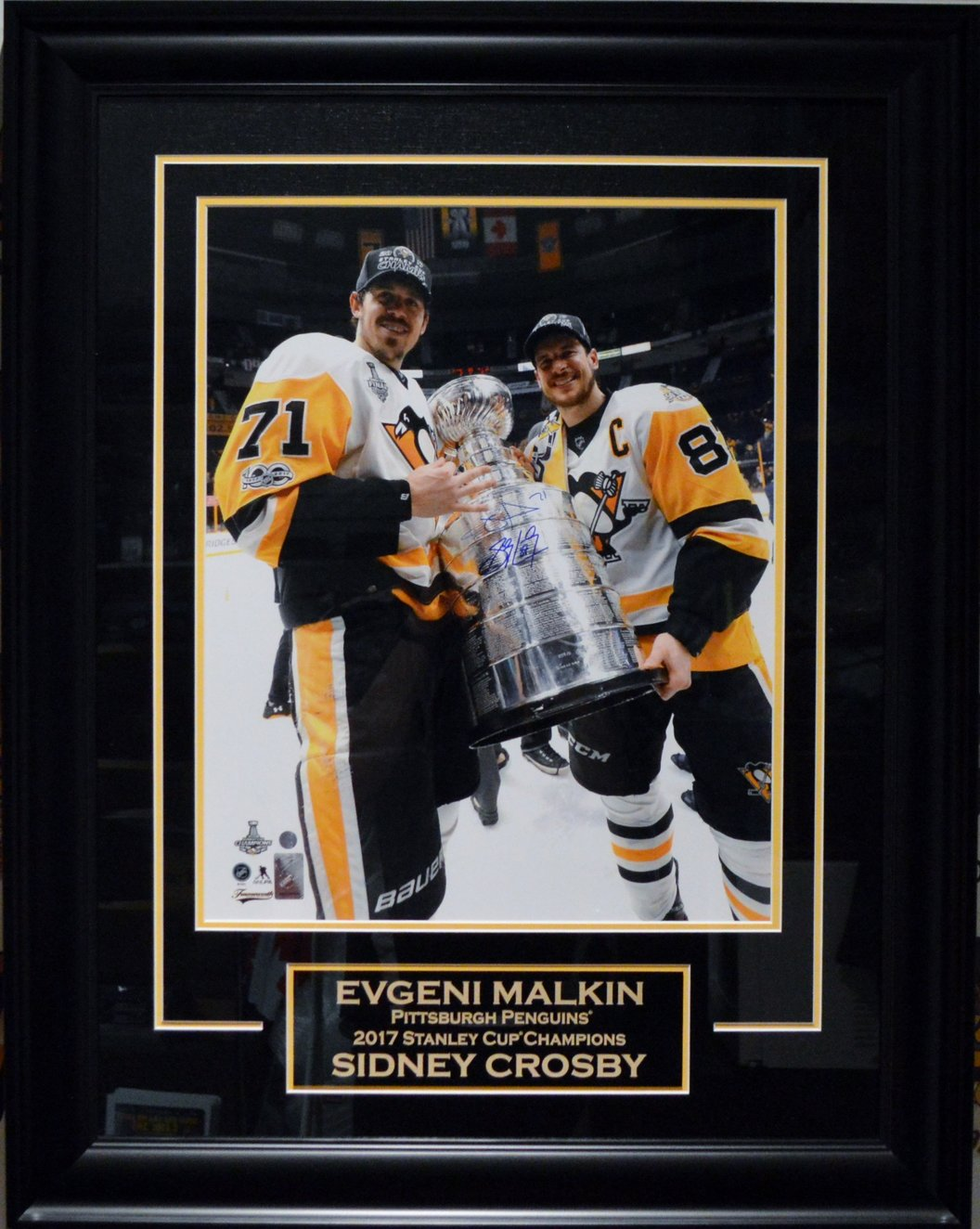 cf9b96bc813 ... Autographed Pittsburgh Penguins Framed 16 x 20 Photo.  West Coast Authentic NHL Penguins Sidney Crosby Evgeni Malkin Autographed Photo
