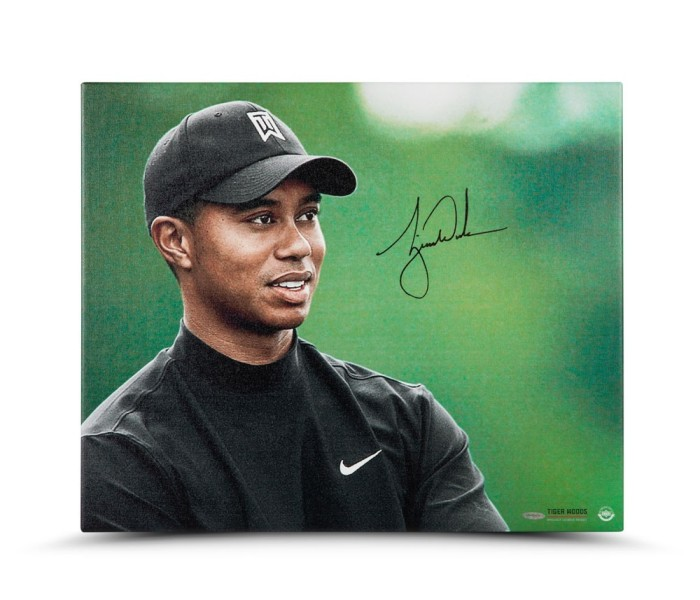 tiger-woods-autographed-up-close-personal-canvas-86879