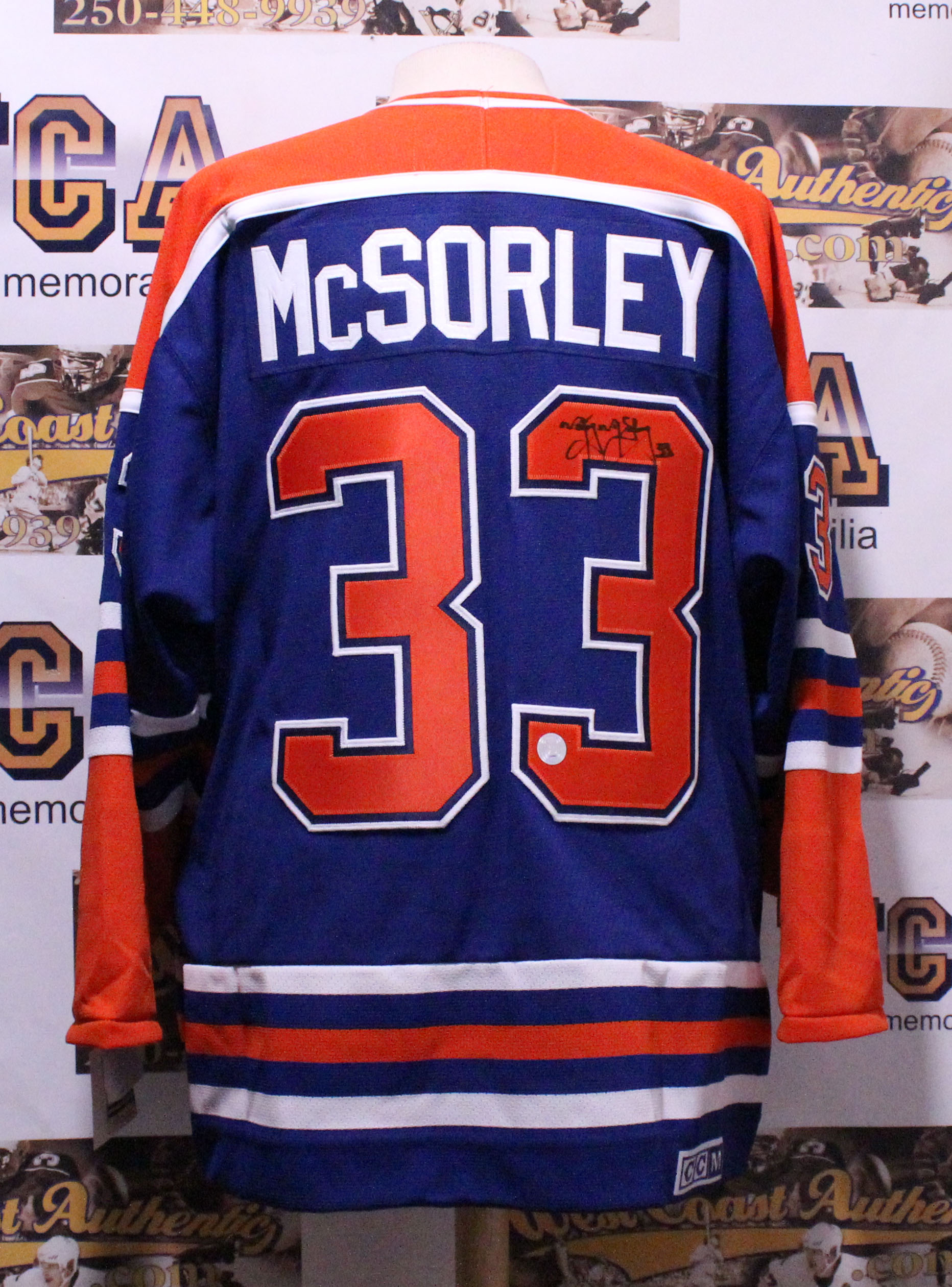 info for aad73 6e018 Marty McSorley Autographed Edmonton Oilers Jersey